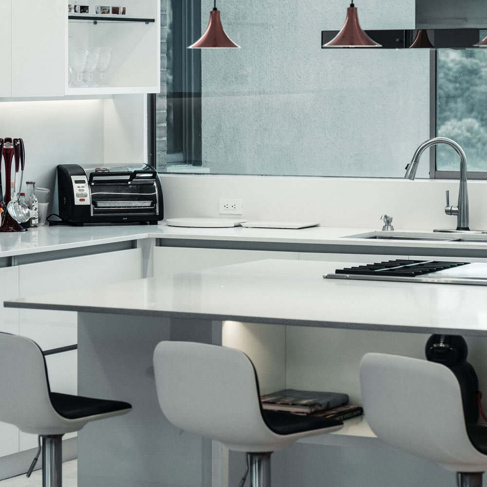 White Corian Kitchen Worktops UK